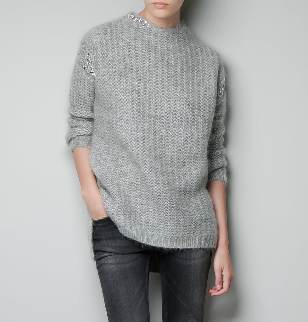 Look closely; this Zara embellished sweater ($129) features pretty rhinestones scattered across the neckline and shoulder.