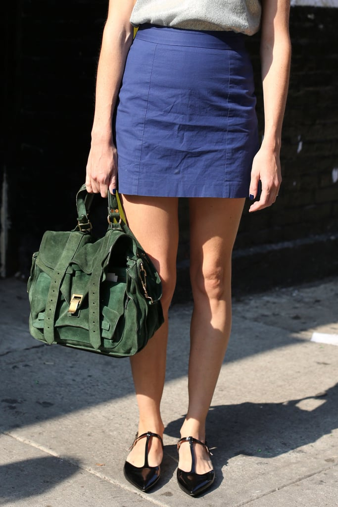 A Fall-feeling forest-green Proenza stole the show in this ensemble.