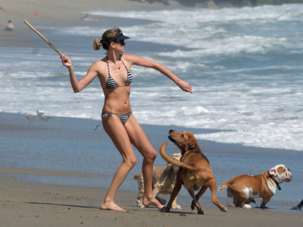 Charlize wore a bikini with her pups on the beach in LA during August 2006.