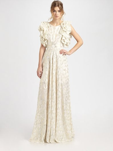 """I'm all about the unconventional wedding dress — why be safe? I would totally wear this Rachel Zoe gown for my nuptials; the silhouette is unexpected, and I'm obsessed with the ruffled sleeves. Also, the gold Lurex detail would look amazing under the light!"" — Brittney Stephens, assistant editor Rachel Zoe Dasha Ruffle-Sleeve Gown ($725)"