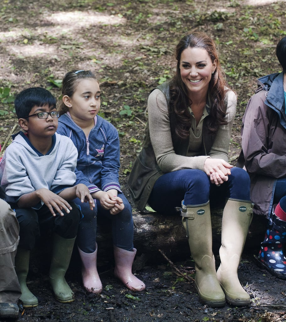 Kate Middleton looked to be enjoying her visit with Expanding Horizons primary school outdoor camp.