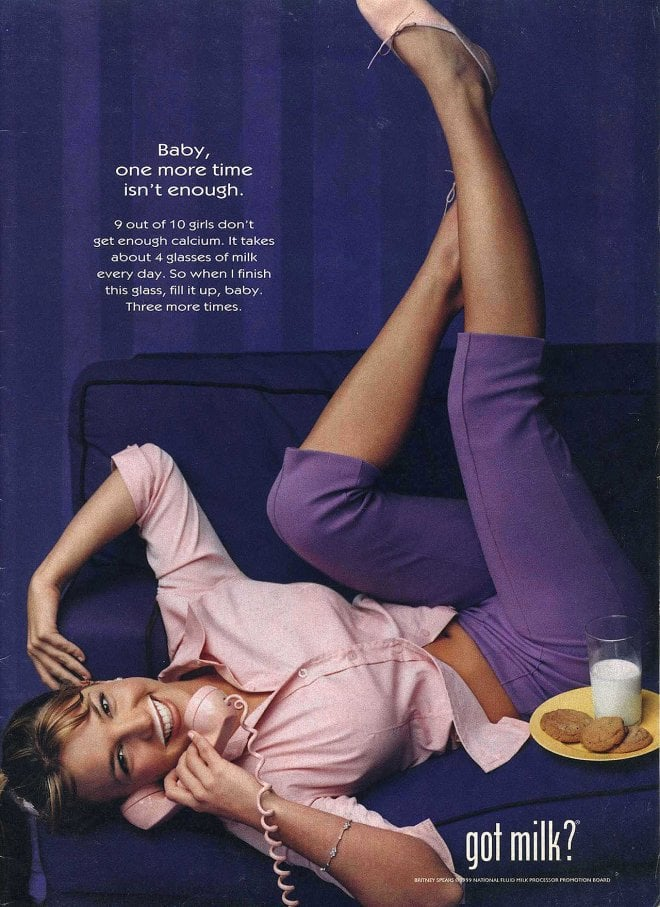 """Britney Spears posed with milk and cookies alongside the saying, """"Baby, one more time isn't enough."""""""