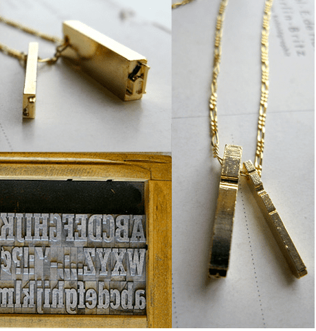 Geek Jewelry: Erica Weiner Letterpress Necklace