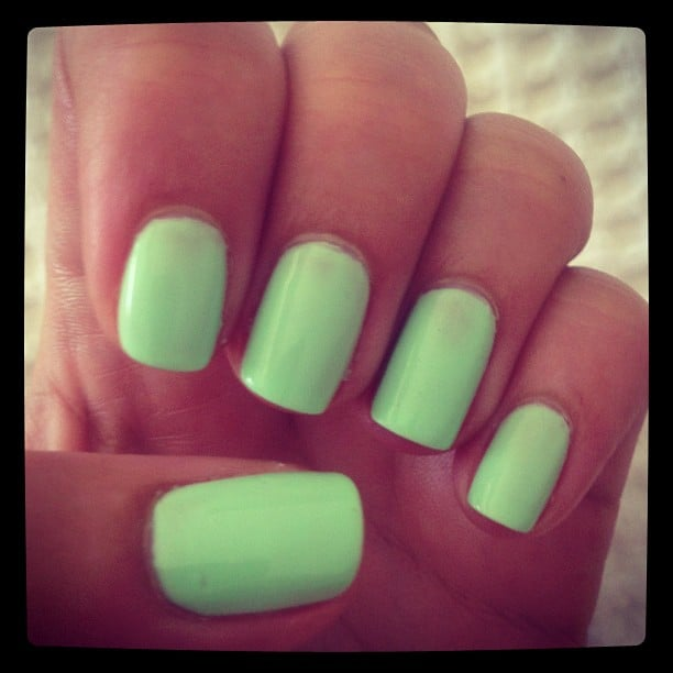 A pastel minty-green is how Alison kicked off her year of nail colours. She changes her polish three times a week, so expect a lot more painted prettiness coming your way!
