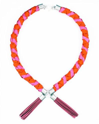 Ines twisted rope tassel necklace – pink orange