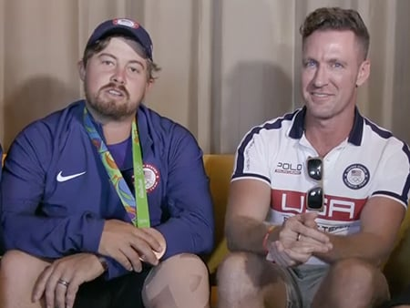 WATCH: Jeremy Renner and Geena Davis Surprise the U.S. Men's Archery Team