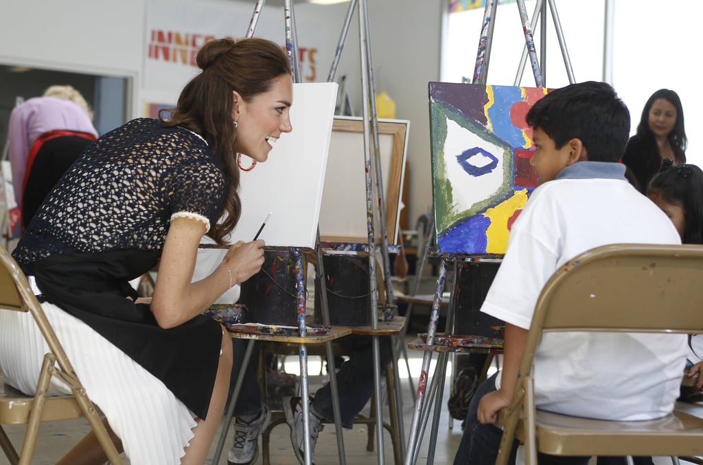 Kate spent time in the Skid Row section of LA during the royal couple's North American tour in July 2011, including a visit to the Inner City Arts campus. She and William painted pictures with the class and chatted with students between brushstrokes.