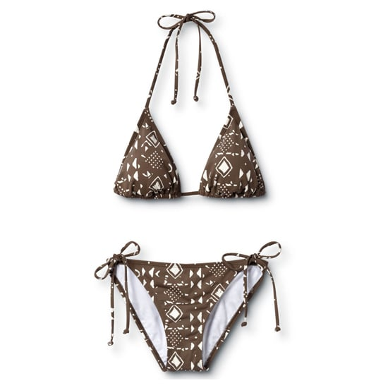 Take the tribal look to the pool. This particular bikini errs on the subtle side with a classic style and neutral brown and white colors.  Quicksilver Tribal Classic String Top ($48) Quicksilver Tribal String Bikini Bottom ($48)