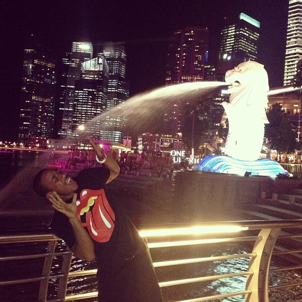Ludacris had fun with a fountain during a trip to Singapore. Source: Instagram user itsludacris