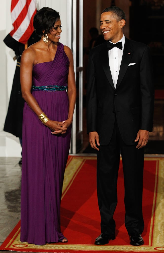 Wearing Korean-American designer Doo-Ri Chung at a state dinner with South Korean President Lee Myung-bak and First Lady Kim Yoon-ok in 2011.
