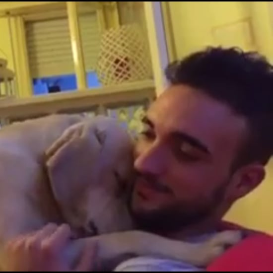 Dog Hugs His Owner