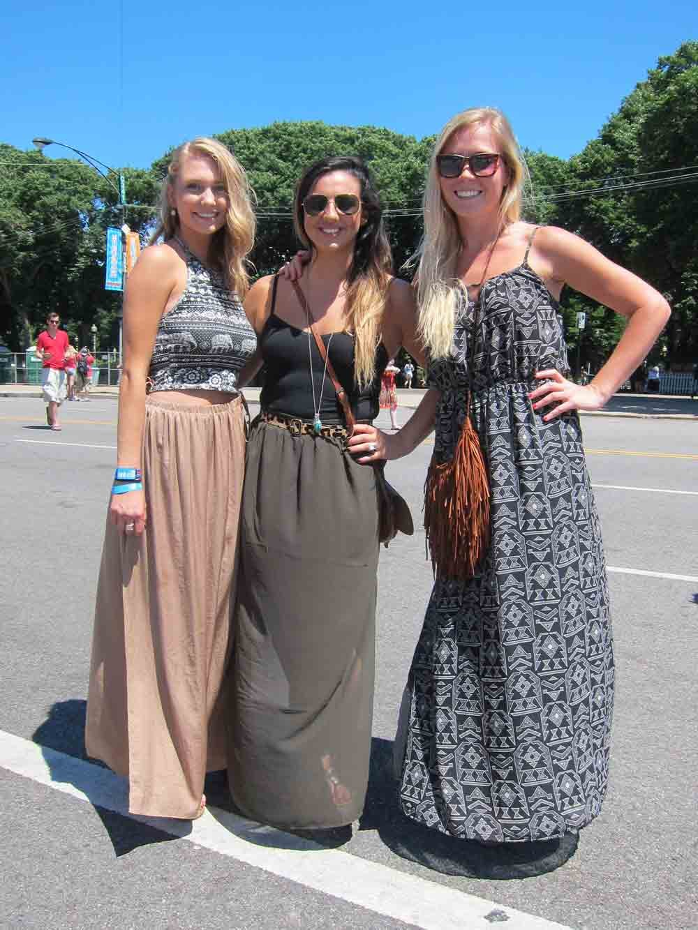 Three's company: Nicolette, Marley, and Megan all went for long, billowing maxis as opposed to the more fest-friendly short shorts, and we thought it was a breath of fresh air. We particularly love Nicolette's fitted Urban Outfitters crop top and Zara skirt.