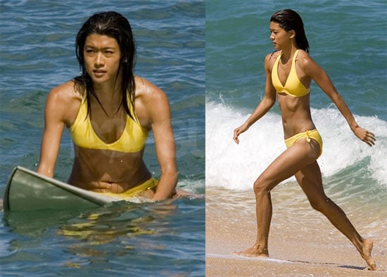 Pictures of Grace Park Wearing a Yellow Bikini Surfing on the Set of Hawaii Five-0