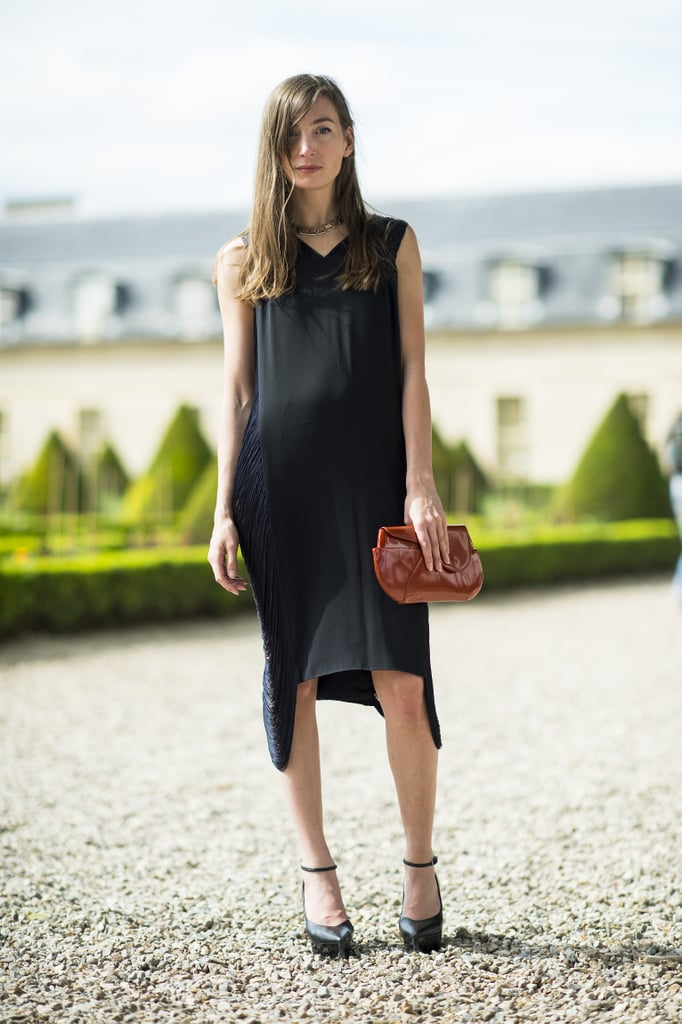 An eclectically chic approach in a fringed black dress and statement jewels. Source: Le 21ème | Adam Katz Sinding