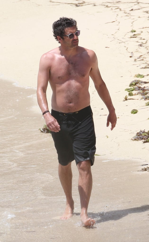 Patrick Dempsey wore black swim shorts while on the beach in St. Barts this May.