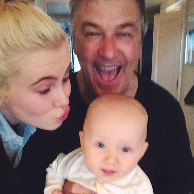 Ireland Baldwin shared this sweet photo with her dad, Alec, and new baby sister, Carmen. Source: Instagram user irelandbbaldwin