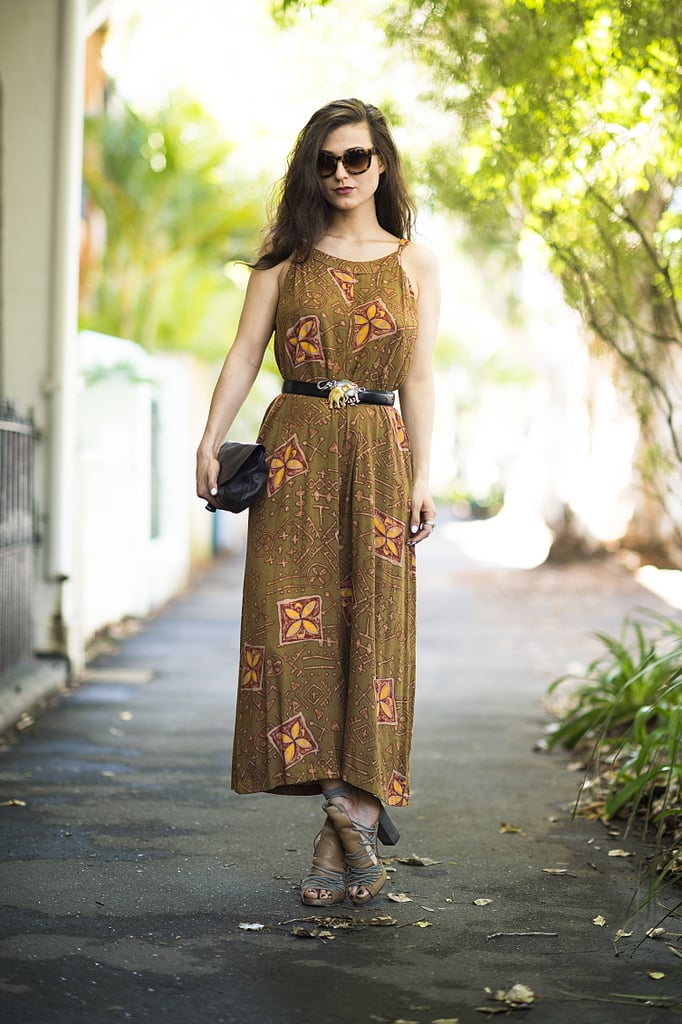A vintage-feeling dress got just the right dose of accessories with an eclectic belt and lace-up sandals. Source: Le 21ème | Adam Katz Sinding
