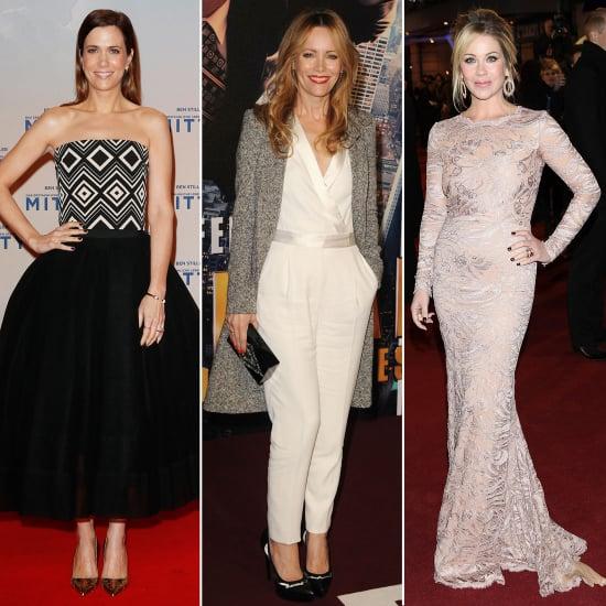 Kristen Wiig Strapless Black and White Dress