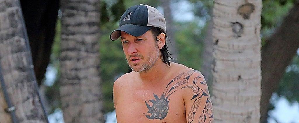 Shirtless Keith Urban Shows Off His Tattoos in Hawaii