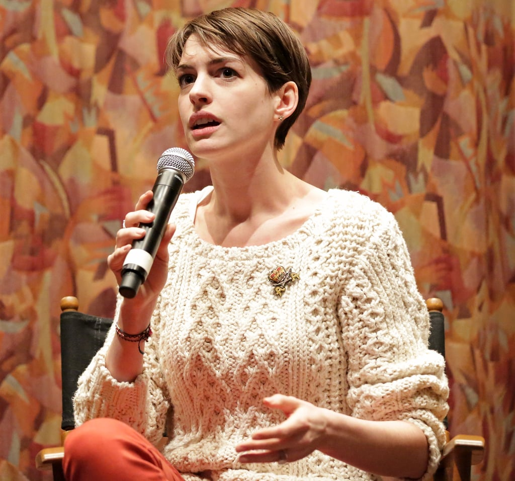 Anne Hathaway spoke after a SAG screening for Les Misérables.