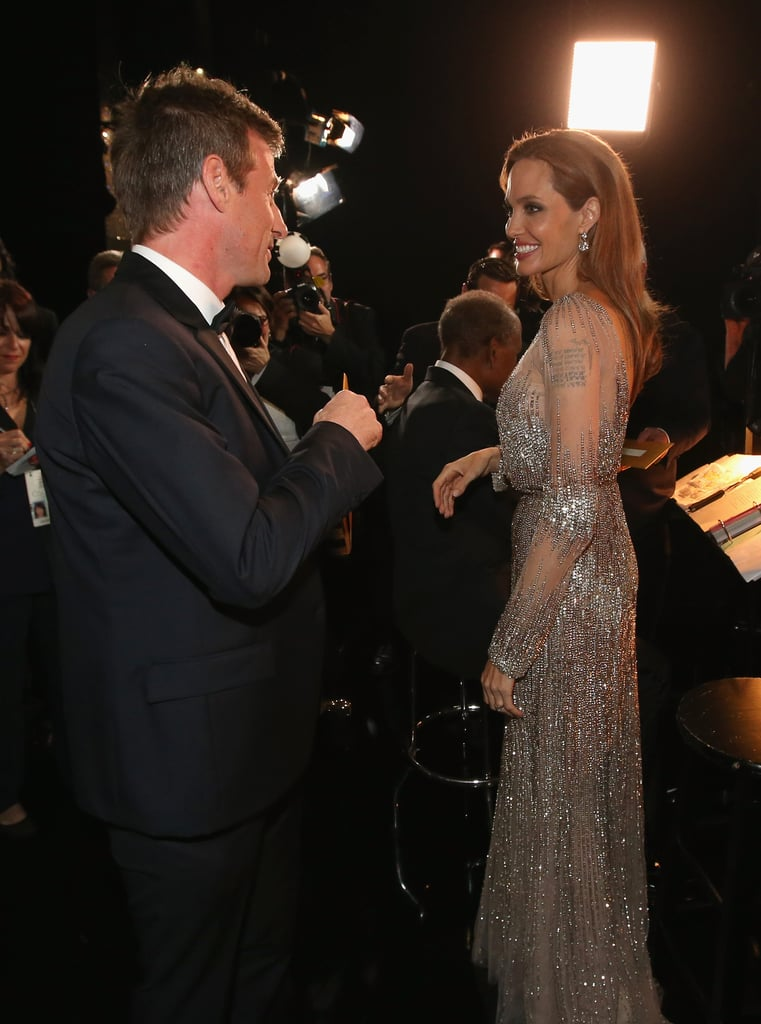 Spike Jonze and Angelina Jolie chatted backstage at the Oscars.