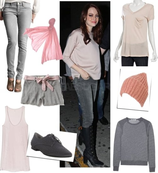 Pictures of Emma Stone in Pale Pink and Gray