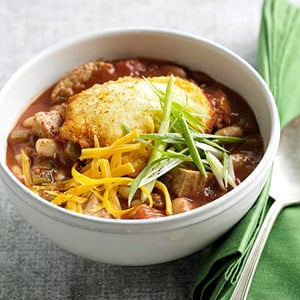 Easy Turkey Chili With White Beans and Corn Bread Dumplings