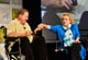 Betty White held hands with William Shatner at a TV Land panel on Thursday.