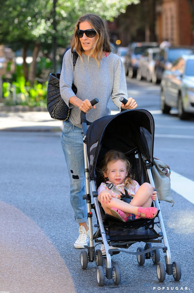 Sarah Jessica Parker pushed her daughters in a stroller around the West Village.