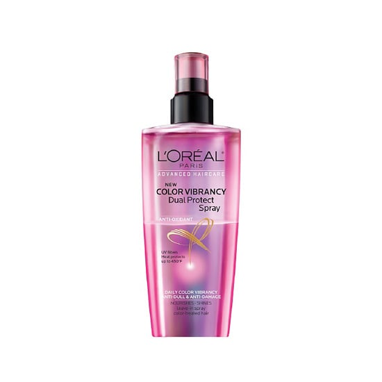I will try any product that promises to keep my hair color going longer, and my newest discovery is L'Oréal Advanced Hair Care Color Vibrancy Dual Protect Spray ($7). Not only does it keep my blond looking fresh, but it also takes the place of my normal heat-protectant spray for flat-ironing my new lob. — MLG