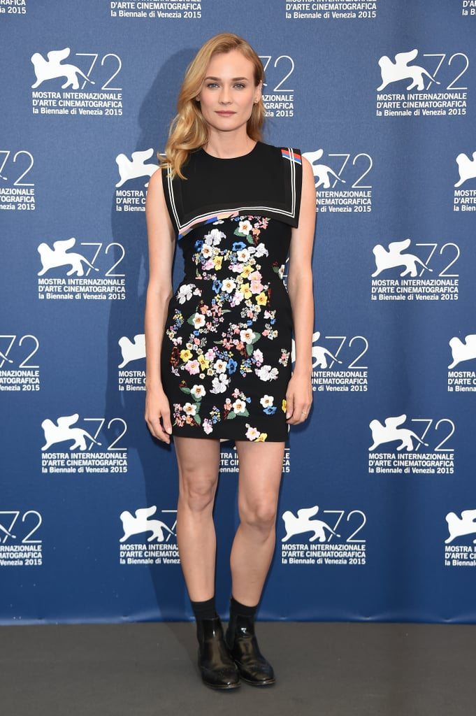 The actress gave here Preen dress some edge with black booties.