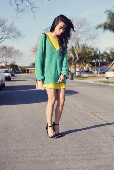 Neon on neon feels totally fresh and totally wearable in easy proportions.  Photo courtesy of Lookbook.nu