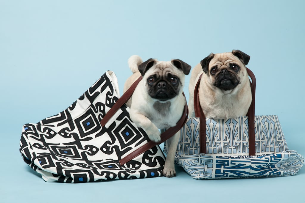 Gladys and Peggy with Suki Cheema's Blue Cotton Tattoo Tote, ($310) and Diamond Tile Cotton Tote ($355). Photo courtesy of Avenue32.