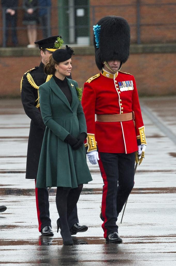 Kate Middleton wore a green coat.