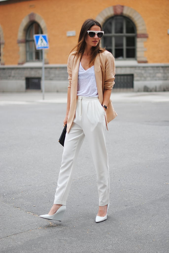 Neutrals shades and classic silhouettes got a seasonal update with bold shades and white heels — take note. Source: