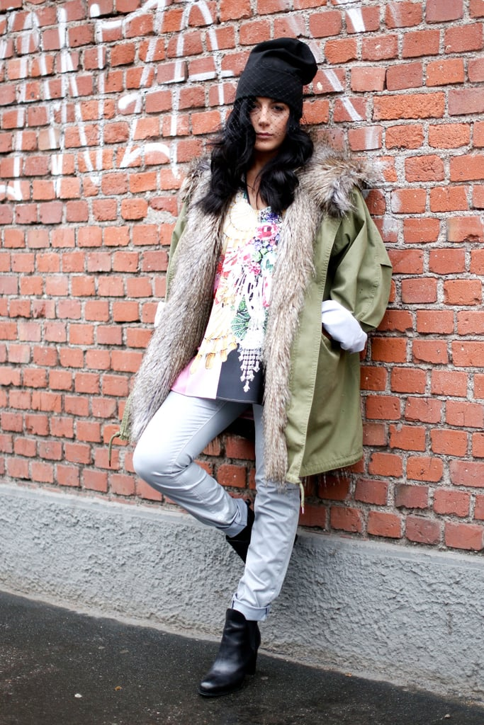 A furry-lined anorak warmed up a bold printed tee, while a veil hinted at a more glamorous-minded style.