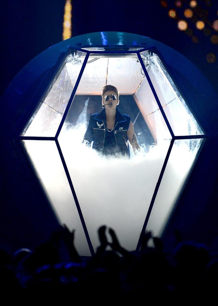 Justin Bieber had a grand entrance.
