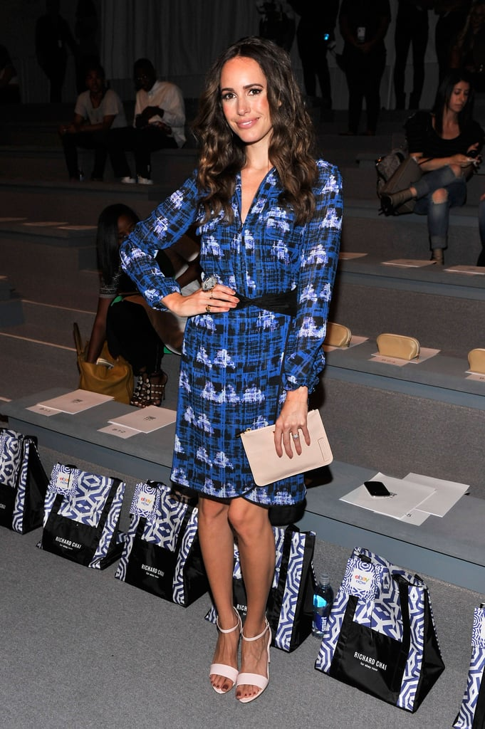 Louise Roe posed in a blue printed dress and nude accessories at Richard Chai.