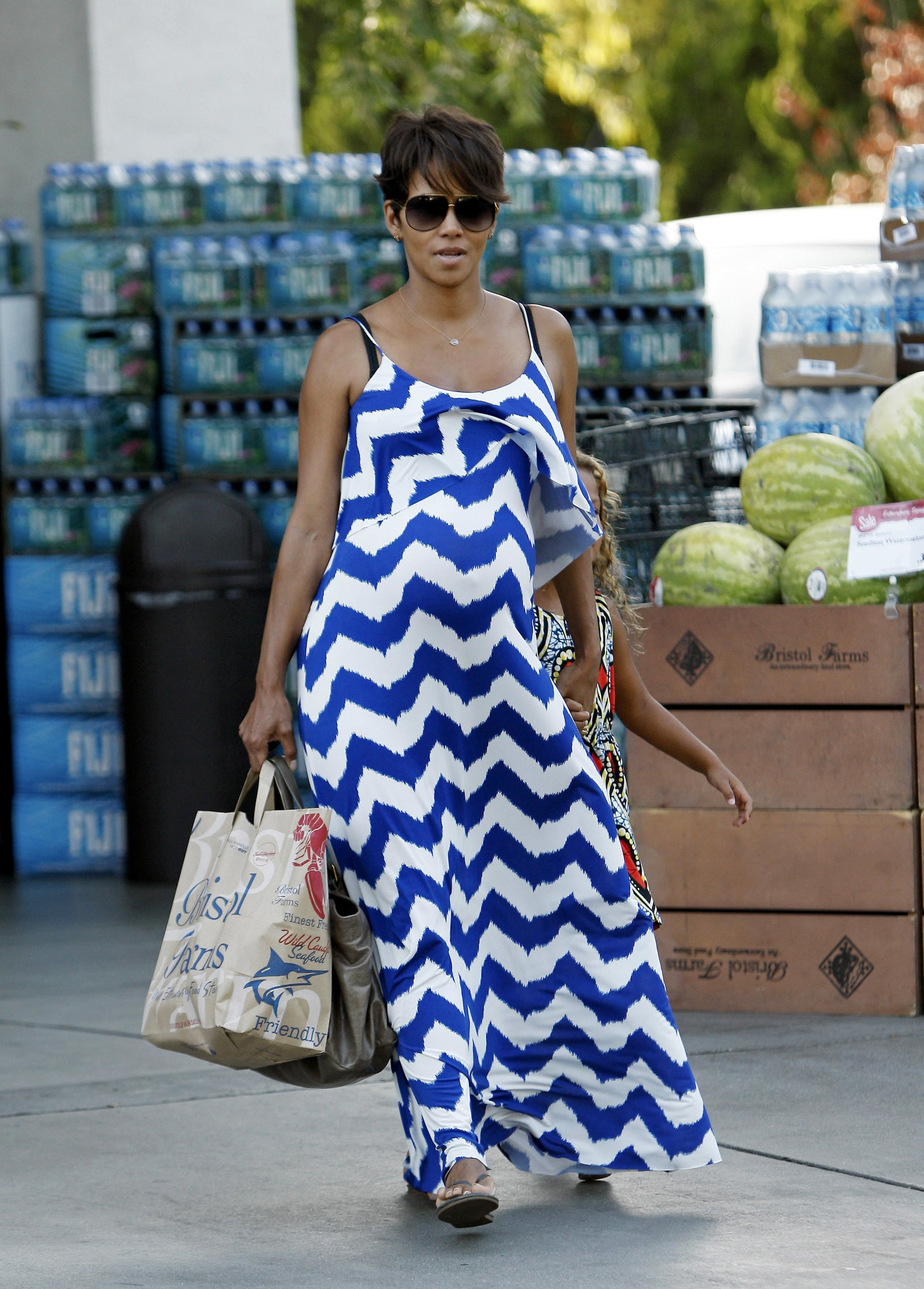 A love affair with maxi dresses meant the star stocked up! Similar to the earlier style we spotted, this one features a bib top and tighter zigzags.