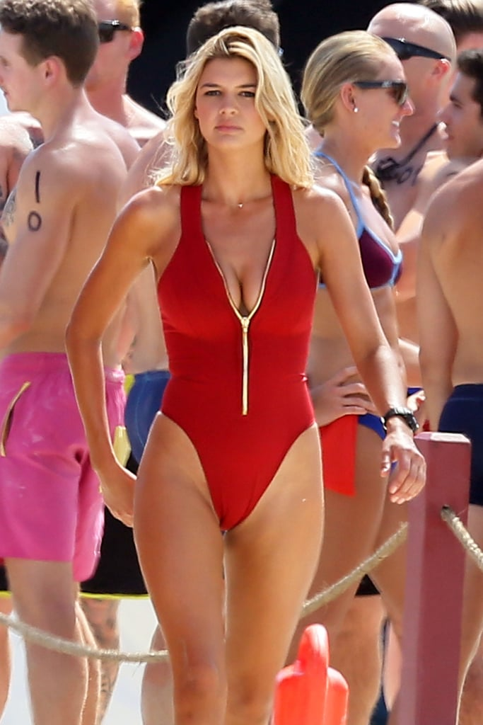 Kelly Rohrbach was spotted filming scenes for Baywatch in a sexy red one-piece back in April 2016.