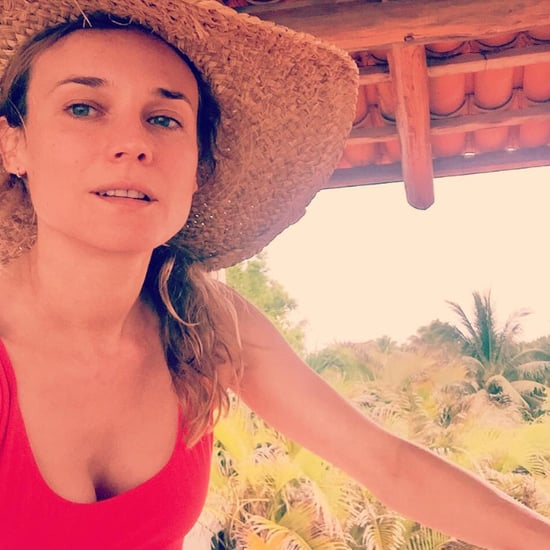 Diane Kruger Wearing a Red Swimsuit April 2016