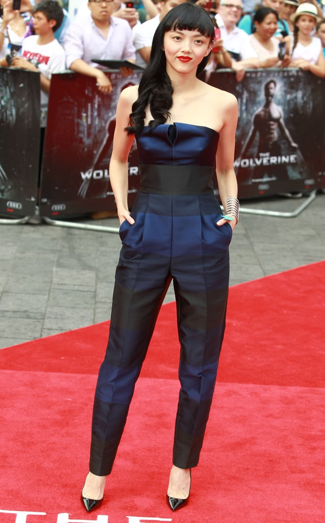 Rila Fukushima made it look effortless in her black and blue Stella McCartney jumpsuit at the UK premiere of The Wolverine.