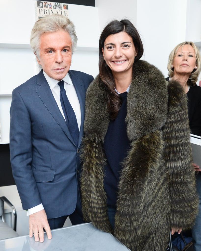 Giancarlo Giammetti and Giovanna Battaglia at the Gagosian Shop fete for Private.