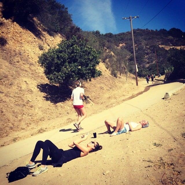 Chrissy Teigen took a break during a hiking expedition with pals on Saturday.  Source: Instagram user chrissyteigen