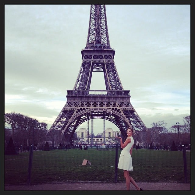 Karlie Kloss shared a photo near the Eiffel Tower while in Paris for Haute Couture Week. Source: Instagram user karliekloss