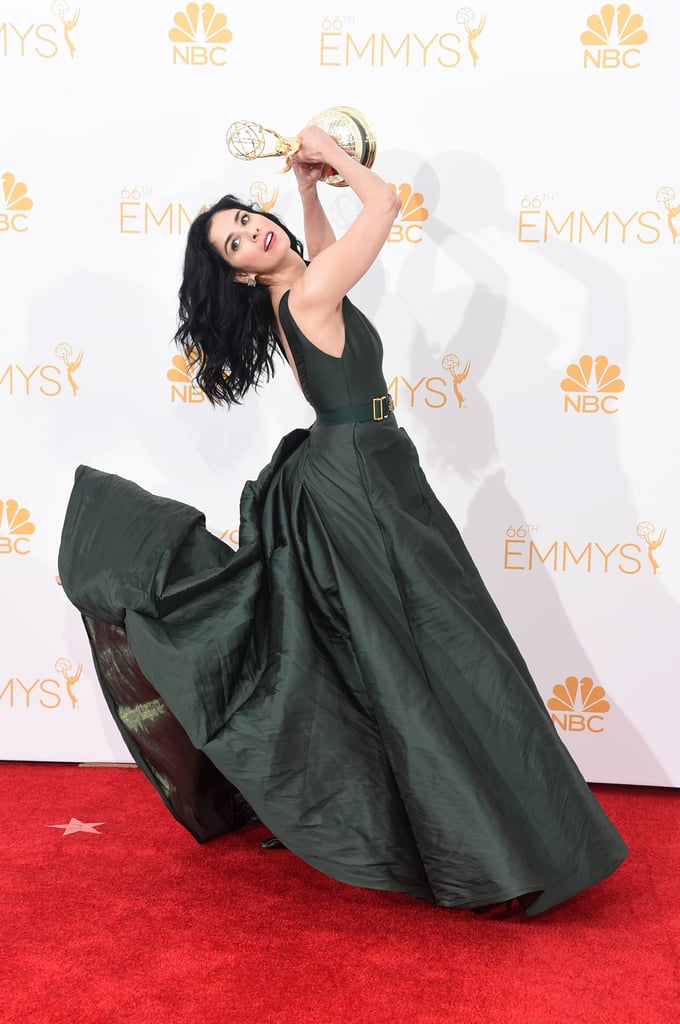Sarah Silverman had fun with her Emmy in the press room.