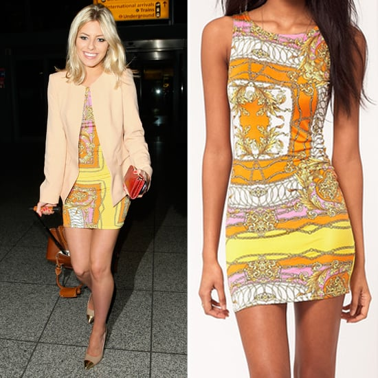 Mollie King's ASOS Yellow Bodycon Scarf Print Dress