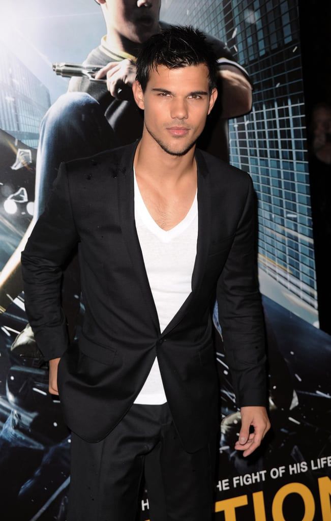 Taylor Lautner in a suit at the Abduction premiere in London.