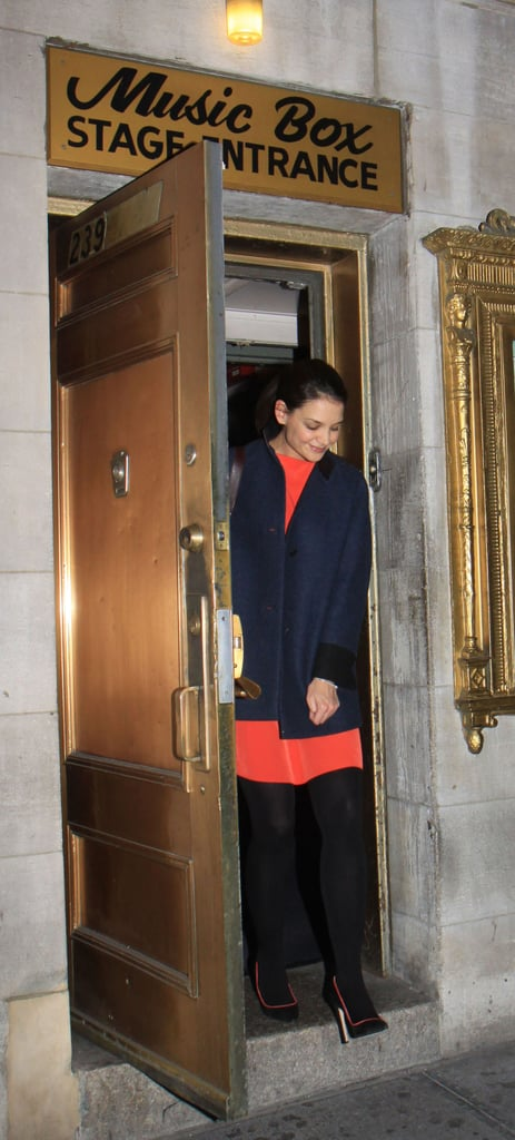 Katie Holmes leaves the Music Box Theatre in NYC.