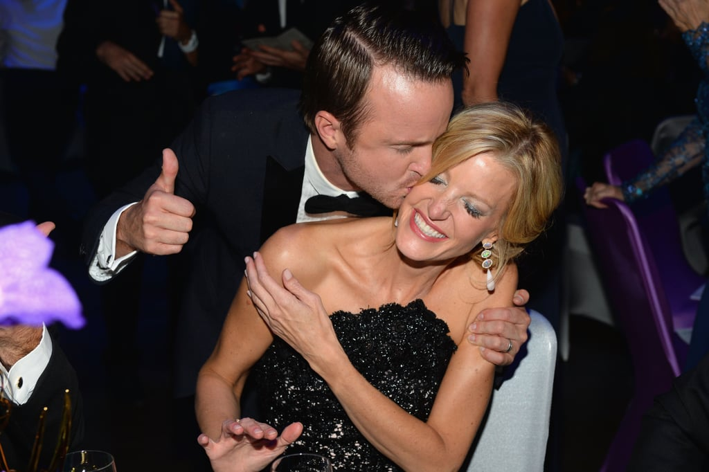 Aaron Paul gave a big kiss to his Breaking Bad costar Anna Gunn at the Emmys.
